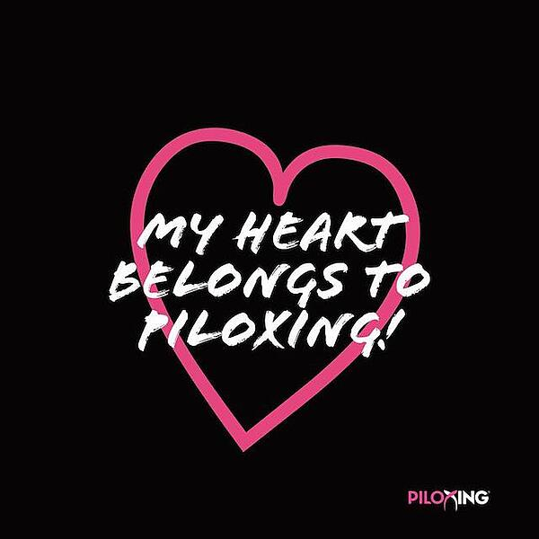 My heart belongs to Piloxing graphic with pink heart on black background
